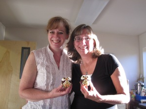 Celebrating with Debbie Austin and her amazing owl cupcakes!