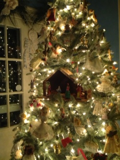 Angel tree with nativity