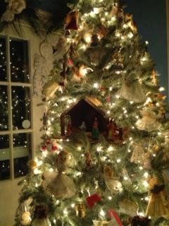 Angel tree with nativity