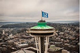 Seahawk flag on space needle